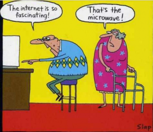 Funny, but inaccurate portrayal of Internet usage by seniors.